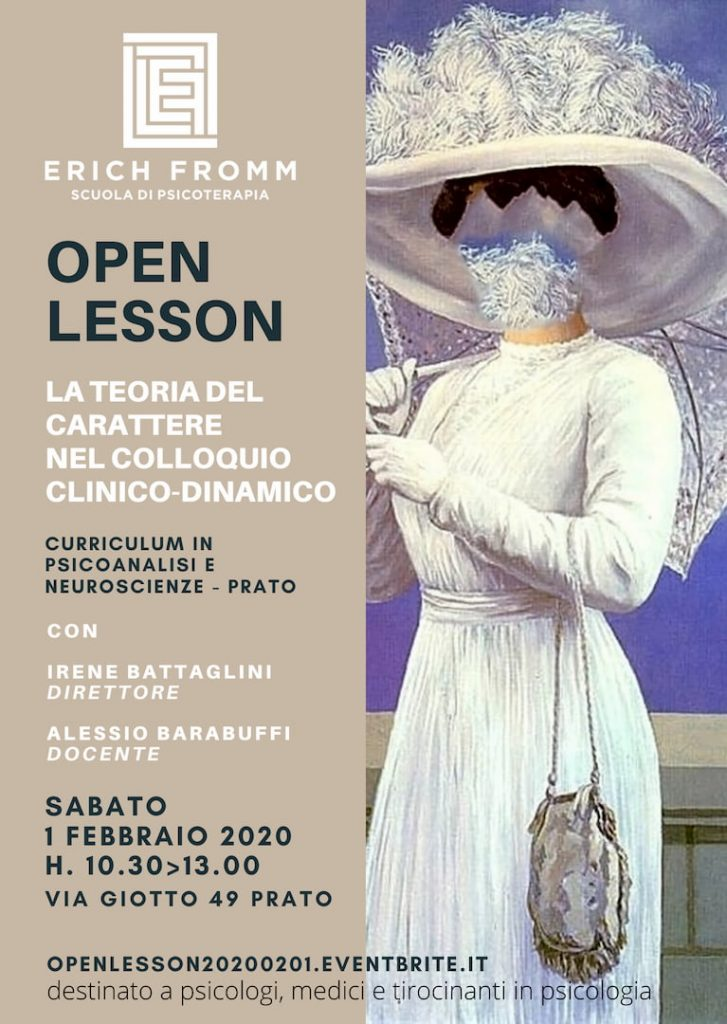 OPEN LESSON PRATO - LA TEORIA DEL CARATTERE NEL COLLOQUIO CLINICO-DINAMICO