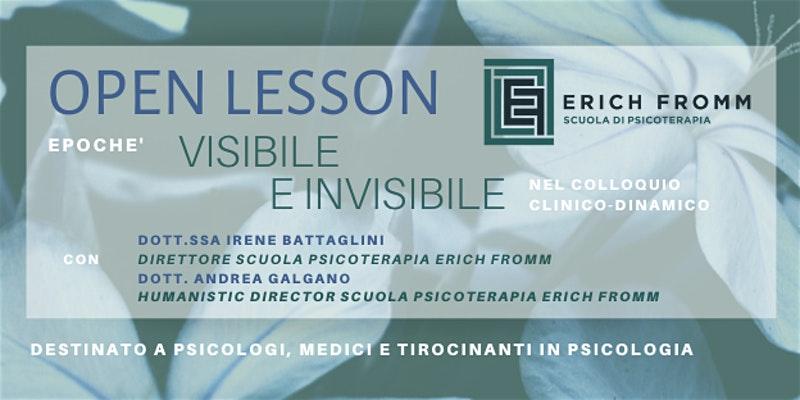 Visibile e invisibile - Open Lesson 2020.17.01